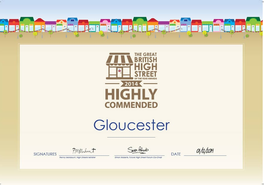 The four Gates of Gloucester wins Highly Commended on the Great British High Street